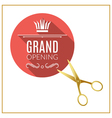 Grand Opening circle button with golden scissors vector image vector image