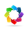 group of protecting hands icon vector image