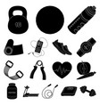 gym and training black icons in set collection for vector image vector image