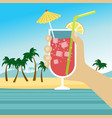 hand holding cocktail over tropical beach vector image vector image