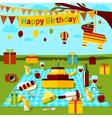 Happy birthday picnic poster with different food vector image