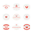 happy valentines day greetings cards and badges vector image vector image