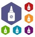Insect spray icons set vector image vector image