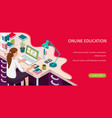 learning online at home student sitting at desk vector image vector image