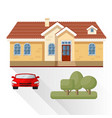 living house car and trees vector image