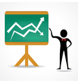 man with business chart vector image vector image