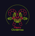 merry christmas card neon lights vector image