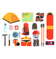 mountain camping equipment set vector image vector image