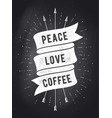 peace love coffee vintage ribbon banner vector image vector image
