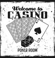 poker emblem with playing cards and dice vector image vector image