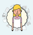 portrait woman character employee worker with vector image