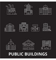 public buildings editable line icons set on vector image vector image
