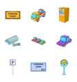 Public parking icons set cartoon style vector image vector image