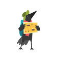 raven travelling with backpack and map cute vector image vector image