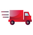 red truck in high speed on a white background vector image vector image