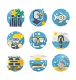 Sea leisure colored detailed flat icons set vector image vector image