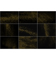 set gold glitter texture isolated on black vector image vector image