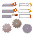 set metal saws on a white background hand vector image vector image