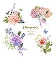 Set of vintage bouquet blooming hydrangea vector image vector image