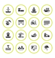 Set round icons of seaport vector image