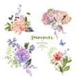set vintage bouquet blooming hydrangea vector image vector image
