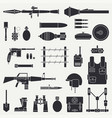 silhouette line flat military icon set vector image vector image