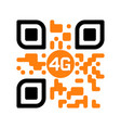 Smartphone readable qr code with 4g yellow icon
