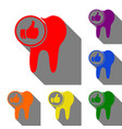 tooth sign with thumbs up symbol set of red vector image