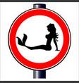 trucker mermaid road sign vector image vector image