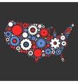USA map silhouette mosaic of cogs and gears vector image