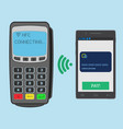 wireless payment with nfc technology using a vector image vector image