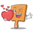 with heart kitchen board character cartoon vector image vector image