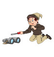 young boy with screwdriver and binoculars vector image