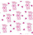 a seamless pattern with pink bear vector image