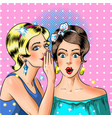 pop art women whispering comic book style vector image