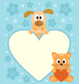 background card with funny cartoon dog and cat vector image vector image