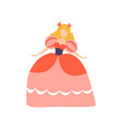 beautiful princess in red dress girl in bright vector image vector image