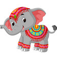 cartoon elephant with traditional costume vector image