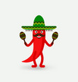 chili pepper with maracas in sombrero vector image vector image