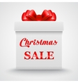 Christmas Sale Gift white box with a red bow vector image