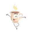 cute cartoon cup of coffee with smiley face funny vector image vector image