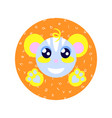 cute cartoon happy animal sticker fantasy vector image vector image
