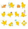 cute character duck variety action pack vector image