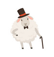 cute gentleman sheep character wearing top hat vector image vector image