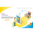 data transfer landing page website template vector image vector image