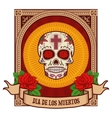 day of the dead Sugar skull in vintage frame vector image vector image