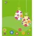 easter card eggs with flower template vector image