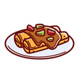enchiladas with spicy sauce and greenery on plate vector image vector image
