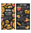 fast food restaurant menu banner on chalkboard vector image vector image