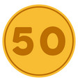 fifty gold coin vector image vector image
